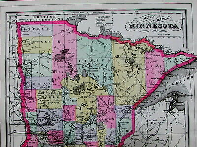 Minnesota counties towns railroads R.R. c.1880 Mitchell old color state map