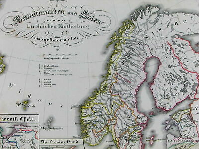 Scandinavia Poland Europe during Reformation Protestantism c1850 old Spruner map