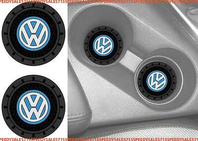 "(2) 2.75"" Volkswagen Logo VW Round Cup Holder Coaster Universal New Free Ship"