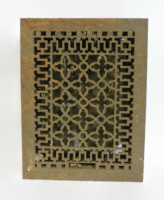ANTIQUE CAST IRON HEATING GRATE REGISTER VENT FLOOR  UNIQUE ORNATE 16 X 12   b