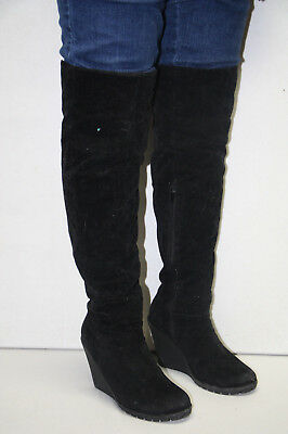 Steam Punk  Above the Knee Black Faux Suede Fashion Boots Pirate Wench  Size9