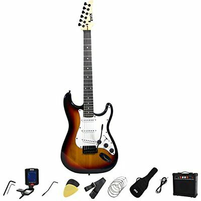 LyxPro Full Size Electric Guitar with 20w Amp, Package Includes All Accessories,