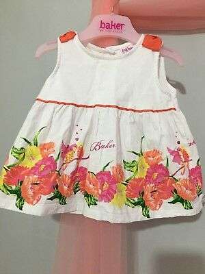 Baby Girls Designer Ted Baker White Floral Lovebirds Print Summer Top 9-12m🎀