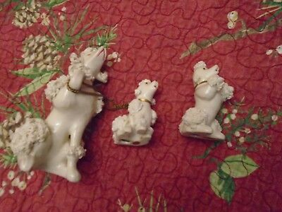 Vintage 3 White Poodle Spaghetti Porcelain Figurines ~  Made In Japan