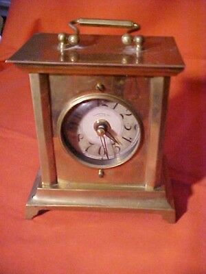 "Timeworks 1906 Antique Brass Carriage Clock 5 1/4 x 4 3/4"" Concave Glass WORKS"
