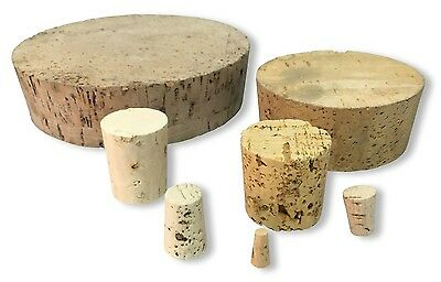 5 Pack of Tapered Cork Stopper Bungs sizes 5.5mm to 17mm