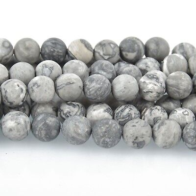 8mm MATTE Silver Gray CRAZY LACE Agate Round Beads Gemstone Strand gem0016