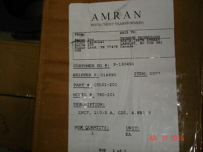 Current Transformer 200:5 Model 780-201, New in Open Box