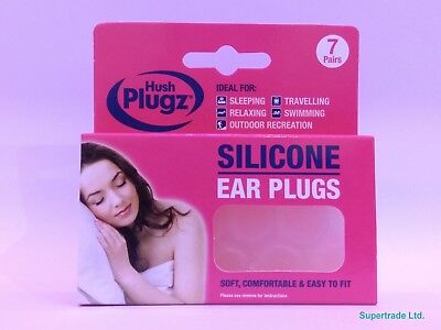 3 X 7 Pairs Soft Comfortable Silicone Ear Plugs EarPlugs Hush Plugz Easy Fit