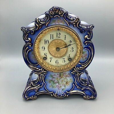 Antique Ansonia Blue Porcelain Mantel Clock Towanda Model Circa 1882
