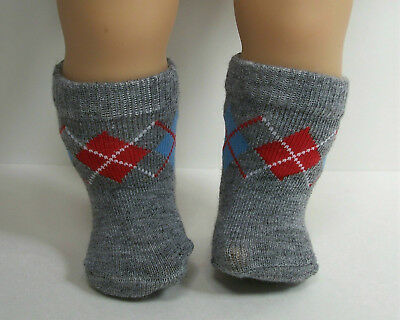 GRAY Argyle Socks Doll Clothes For Bitty Baby Boy (Debs)