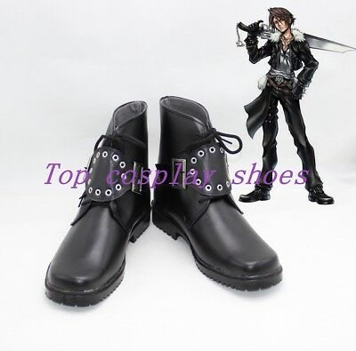 Anime Final Fantasy VIII Squall Leonhart Black Cosplay Boots Shoes