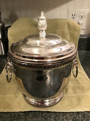 Silver plate ice bucket with pyrex-like insert and lion handles