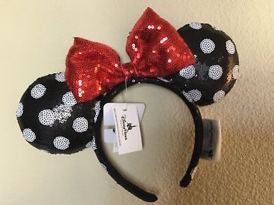 Disney Parks Sequin Minnie Mouse Ears Headband Black White Polka Dot Red Bow NEW