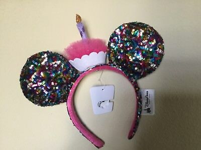 NWT Disney Parks Minnie Mouse Ears Sequin Headband Birthday Sparkle Cupcake
