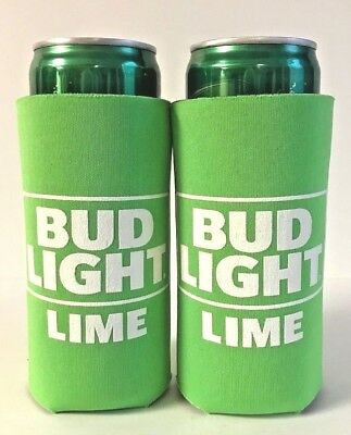 BUD LIGHT LIME Koozie Fits 12 oz Slim  Can NEW LOGO ~ Set Of Two (2) NEW & F/S