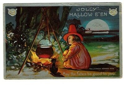 Witch Black Cat Cauldron Jolly HALLOWEEN Fates Be Good to You Vintage Postcard