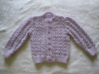 Baby's White Or Lavendar Hand Knitted Lacy Round Neck Cardigan