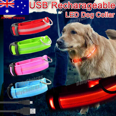 LED Pet Collar Dog Walk Safety Flashing Light Leash glow in dark Rechargeable