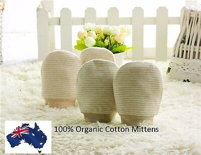 2 Pairs 100% Organic Cotton Classy Beige Striped Unisex Baby Newborns Mittens