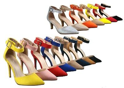 NEW Women's Pointed Toe Ankle Strap Stiletto High Heel Dress Pumps 5 - 10 Size