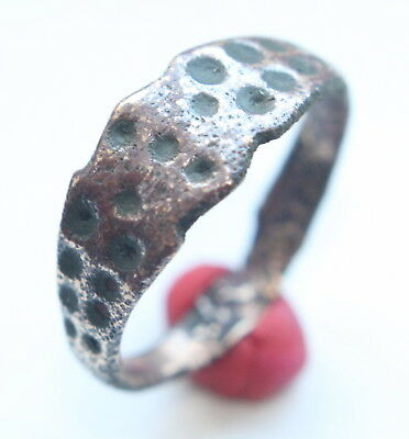 Ancient Old Bronze Ornament Decorated Ring ''Thimble Dots'' (MAY)