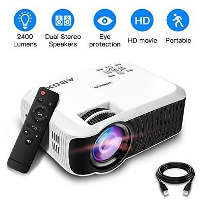 2018 Newest ABOX T22 Upgraded 2400 Lumens Portable LCD Video Projector, GooBang