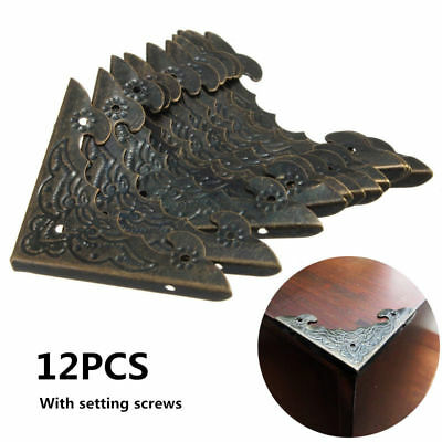 12pc Antique Metal Jewelry Gift Box Corner Decor Feet Leg Protector Guard Bronze