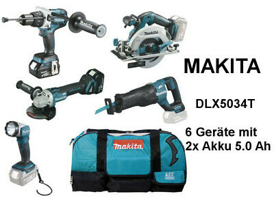 makita 6er ger teset 18v 5ah mit 2x akku bl1850b und. Black Bedroom Furniture Sets. Home Design Ideas