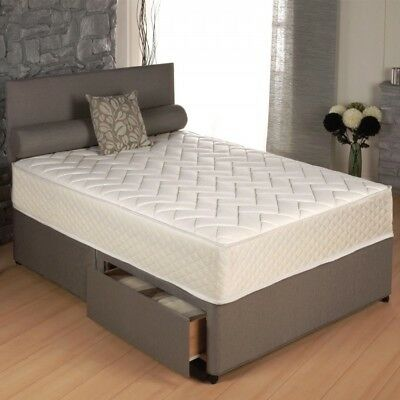 New 1000 Memory Sprung Divan Bed Set With Free Plain Headboard All Sizes Sale!!
