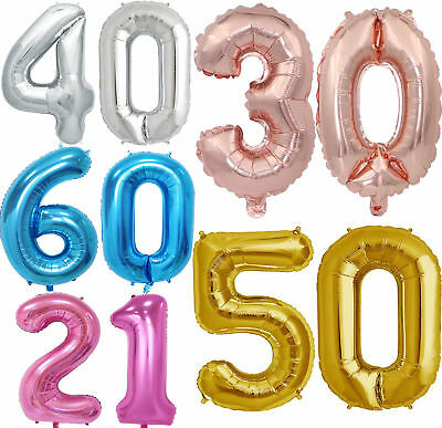 UK Giant Age 18 30 40 50th Birthday Foil Helium Balloon Party