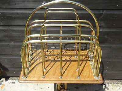 antique Edwardian oak and brass newspaper rack, rotating top