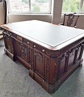 President's Resolute Desk - Reproduction Mahogany Desk with faux leather top