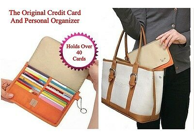 Credit Card Holder And Organizer Has 40 Slots And Zippered Center Compartment