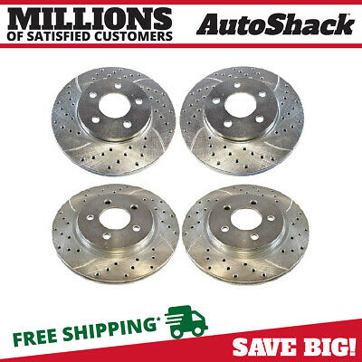 Front Rear Drilled Slotted Brake Rotors for 2005-2010 Ford Mustang Silver