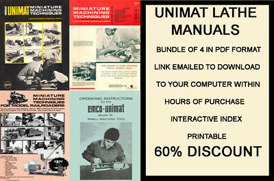 Unimat Lathe Manuals Bundle Of 5 Pdf Format Emailed To Buyer With Bonus Files