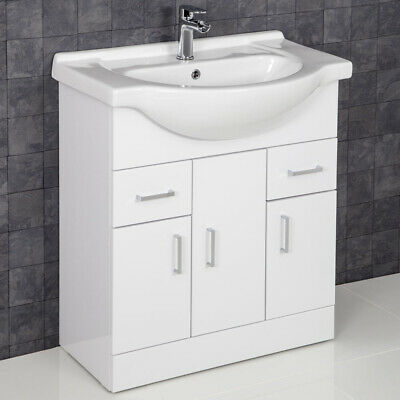 750mm Bathroom Vanity Unit & Basin Sink  Tap + Waste Gloss White Floorstanding