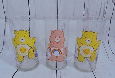 Vintage Care Bears Pizza Hut Glasses Set of 3 1983 American Greetings Limited Ed