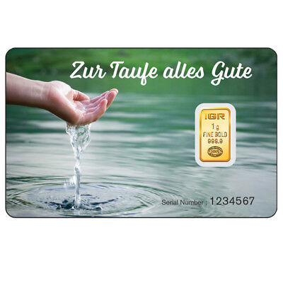 1 Gramm Goldbarren IGR - Taufe - Gold 999,9 im Blister