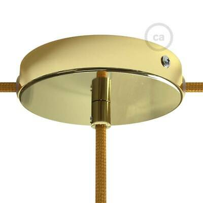 Brass metal 120 mm ceiling rose kit with 1 central hole and 2 side holes, with c