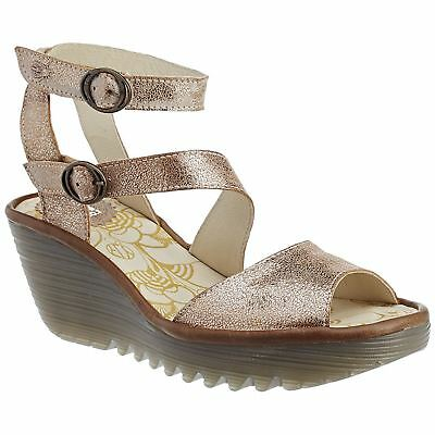 aac797be33e Fly London Yisk 837 Luna Camel Womens Leather Ankle Strap Wedge Sandals