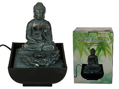 Sitting Buddha Polyresin Table Top Water Fountain Statue Decoration Electrical