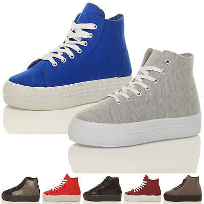 Womens ladies flatform platform lace up sneakers hi-top trainers size