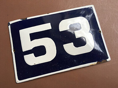 ANTIQUE VINTAGE EUROPEAN ENAMEL SIGN HOUSE NUMBER 53 DOOR GATE SIGN 1950's