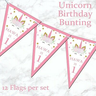 Personalised Glitter Gold Unicorn Bunting Banner Birthday Party Girl Pink