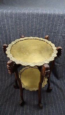Vintage Chinese Folding double Tray Table with Two Engraved Brass trays