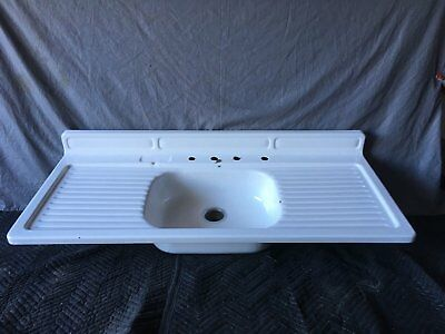 Vtg Mid Century White Porcelain Single Basin Double Drainboard Farm Sink 752-17E