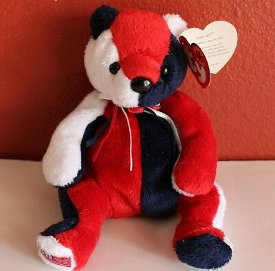 TY Beanie Babies PATRIOT Teddy Bear Flag On Right Foot Retired New w Tags 9966e2967418