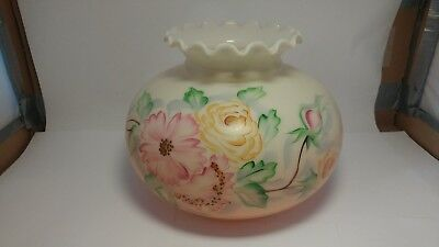 """Antique Hand Painted 7"""" Gone With The Wind Hurricane Lamp Milk Glass Shade"""