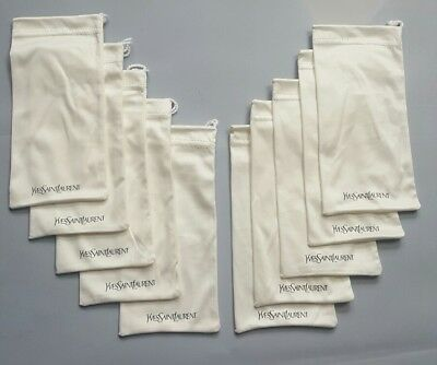 Lot Of 10 Yves Saint Laurent Cream Microfiber Sunglasses Cleaning Cloth Pouch